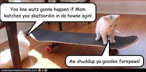 Yoo kno wutz gonna happen if Mom katches yoo skatbordin in da howse agin!