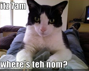 itz 7am   where's teh nom?