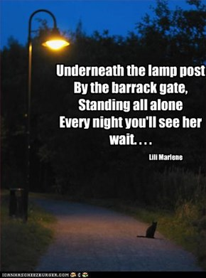 Underneath the lamp post By the barrack gate, Standing all alone Every night you'll see her wait. . . .