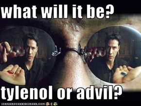 what will it be?  tylenol or advil?