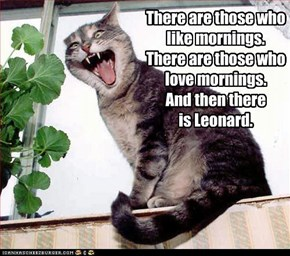There are those who like mornings. There are those who love mornings. And then there  is Leonard.