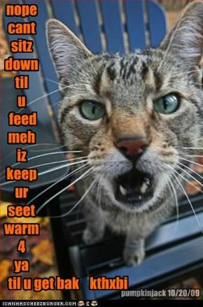 nope cant sitz down til u  feed meh iz  keep ur seet warm 4 ya                                    til u get bak    kthxbi