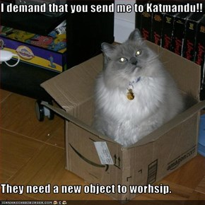 I demand that you send me to Katmandu!!  They need a new object to worhsip.
