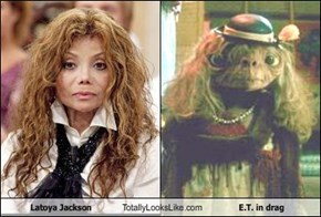 Latoya Jackson Totally Looks Like E.T. in drag