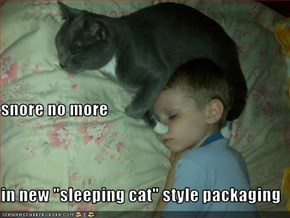 "snore no more in new ""sleeping cat"" style packaging"