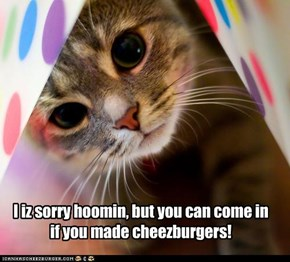 I iz sorry hoomin, but you can come in if you made cheezburgers!