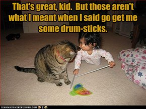 That's great, kid.  But those aren't what I meant when I said go get me some drum-sticks.