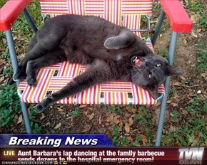 Breaking News - Aunt Barbara's lap dancing at the family barbecue sends dozens to the hospital emergency room!
