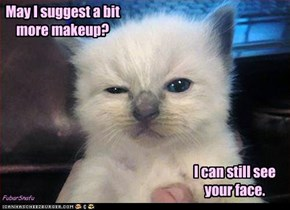 May I suggest a bit more makeup?