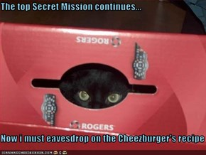 The top Secret Mission continues...  Now i must eavesdrop on the Cheezburger's recipe