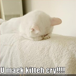 U maek kitteh cry!!!!