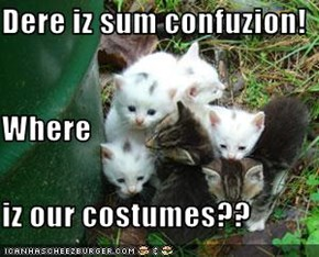 Dere iz sum confuzion! Where iz our costumes??