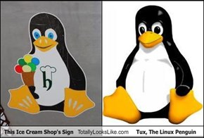 This Ice Cream Shop's Sign  Totally Looks Like Tux, The Linux Penguin