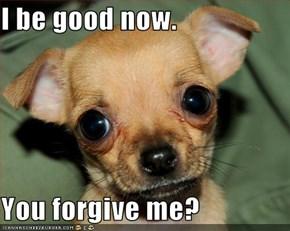 I be good now.  You forgive me?