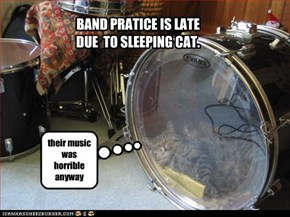 BAND PRATICE IS LATE DUE  TO SLEEPING CAT.