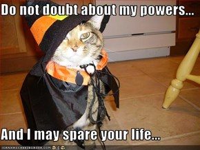 Do not doubt about my powers...  And I may spare your life...
