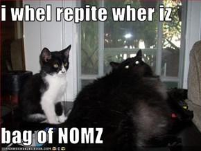 i whel repite wher iz   bag of NOMZ