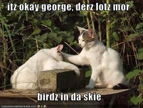 itz okay george, derz lotz mor  birdz in da skie