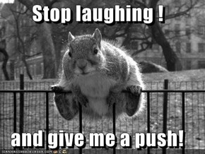 Stop laughing !  and give me a push!