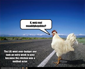 The LOL went over-budget and took an extra week to post because the chicken was a method actor.