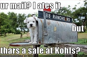 ur mail? I ates it. but thars a sale at Kohls?