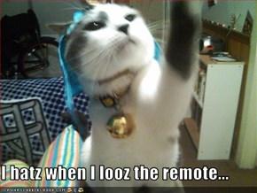 I hatz when I looz the remote...