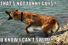 THAT'S NOT FUNNY GUYS!!  U KNOW I CAN'T SWIM!!