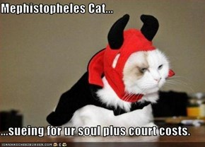 Mephistopheles Cat...  ...sueing for ur soul plus court costs.