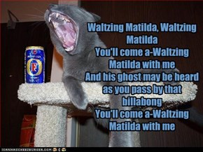 Waltzing Matilda, Waltzing Matilda You'll come a-Waltzing Matilda with me And his ghost may be heard as you pass by that billabong You'll come a-Waltzing Matilda with me