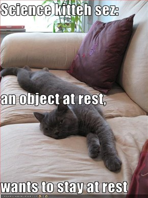 Science kitteh sez: an object at rest, wants to stay at rest