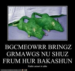 BGCMEOWRR BRINGZ GRMAWGS NU SHUZ FRUM HUR BAKASHUN