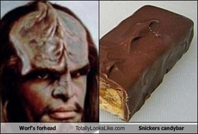 Worf's forhead Totally Looks Like Snickers candybar