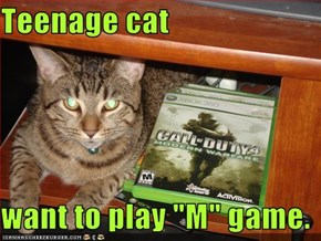 "Teenage cat  want to play ""M"" game."
