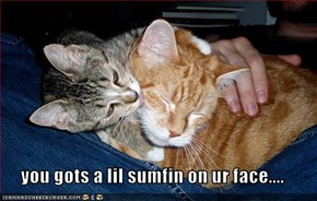 you gots a lil sumfin on ur face....