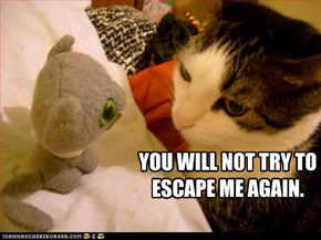 YOU WILL NOT TRY TO ESCAPE ME AGAIN.