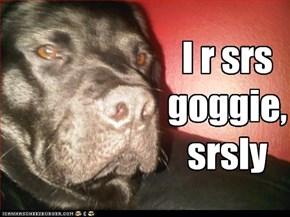 I r srs goggie, srsly