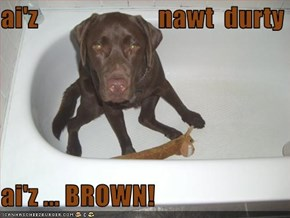 ai'z                       nawt  durty  ai'z ... BROWN!