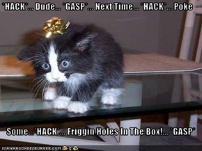 *HACK*... Dude... *GASP*... Next Time... *HACK*... Poke      Some...*HACK*... Friggin Holes In The Box!... *GASP*