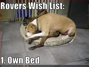 Rovers Wish List:  1. Own Bed
