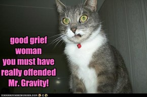 good grief woman you must have really offended Mr. Gravity!