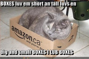 BOXES luv em short an tall luvs en  big and small BOXES I LUB BOXES