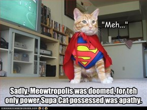 Sadly, Meowtropolis was doomed, for teh only power Supa Cat possessed was apathy.