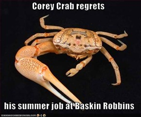 Corey Crab regrets    his summer job at Baskin Robbins