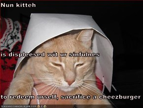 Nun kitteh is displeesed wit ur sinfulnes to redeem urself, sacrifice a cheezburger