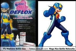 Flu Medicine Bottle Guy Totally Looks Like Mega Man Battle Networks