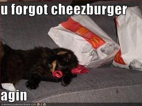 u forgot cheezburger  agin