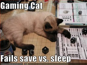 Gaming Cat  Fails save vs. sleep