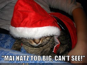 """MAI HATZ TOO BIG, CAN'T SEE!"""