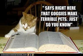 """ SAYS RIGHT HERE THAT GOGGIES MAKE TERRIBLE PETS.  JUST SO YOU KNOW"""