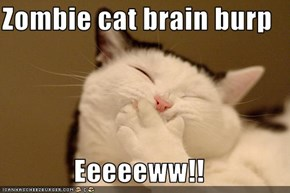 Zombie cat brain burp  Eeeeeww!!